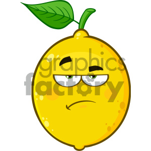 Royalty Free RF Clipart Illustration Grumpy Yellow Lemon Fruit Cartoon  Emoji Face Character With Sadness Expression Vector Illustration Isolated  On.