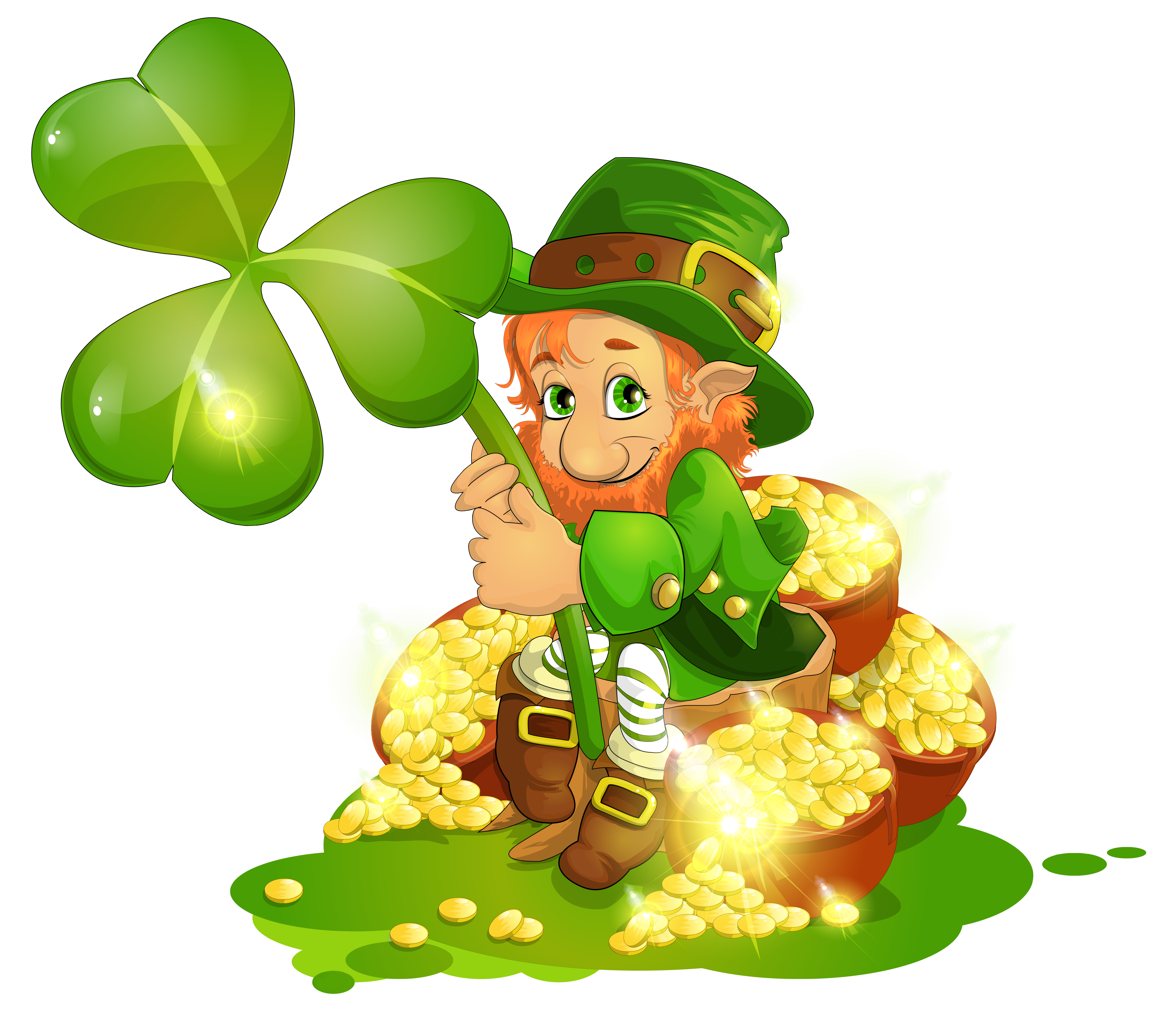 Saint Patrick\'s Day Leprechaun with Pot of Gold and Shamrock.