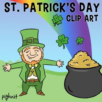 St. Patrick\'s Day Clip Art, Leprechaun, Pot of Gold, Rainbow, Shamrock, 4  Leaf.