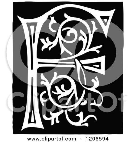 Clipart of a Vintage Black and White Monogram Letter F.