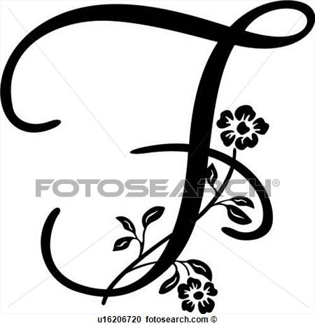 alfabeto, capital, f, monogram, manuscrito, lettered, Ampliar.