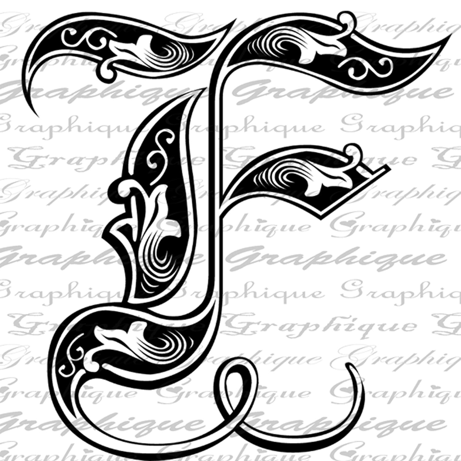 LETTER Initial F Monogram Old ENGRAVING Style Type Text.
