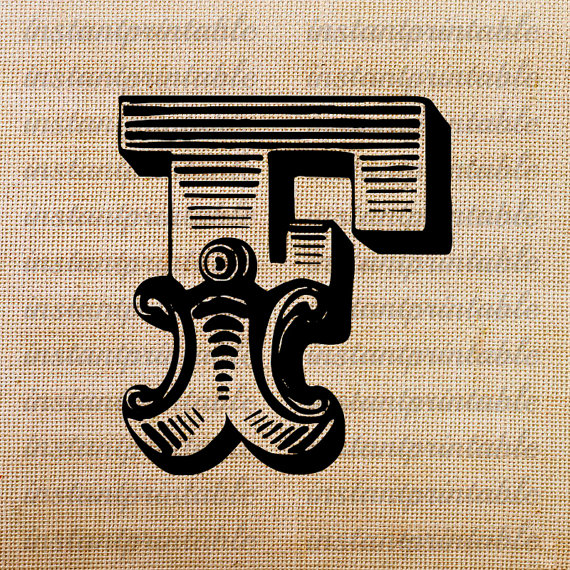 Monogram, Initial Letter F, Letter Clip Art, Letter Decal.