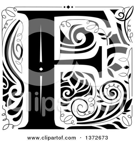 Clipart of a Black and White Vintage Letter F Monogram.