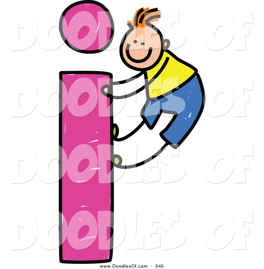 Vector Clipart of a Doodled White Boy Climbing a Lowercase Letter I.