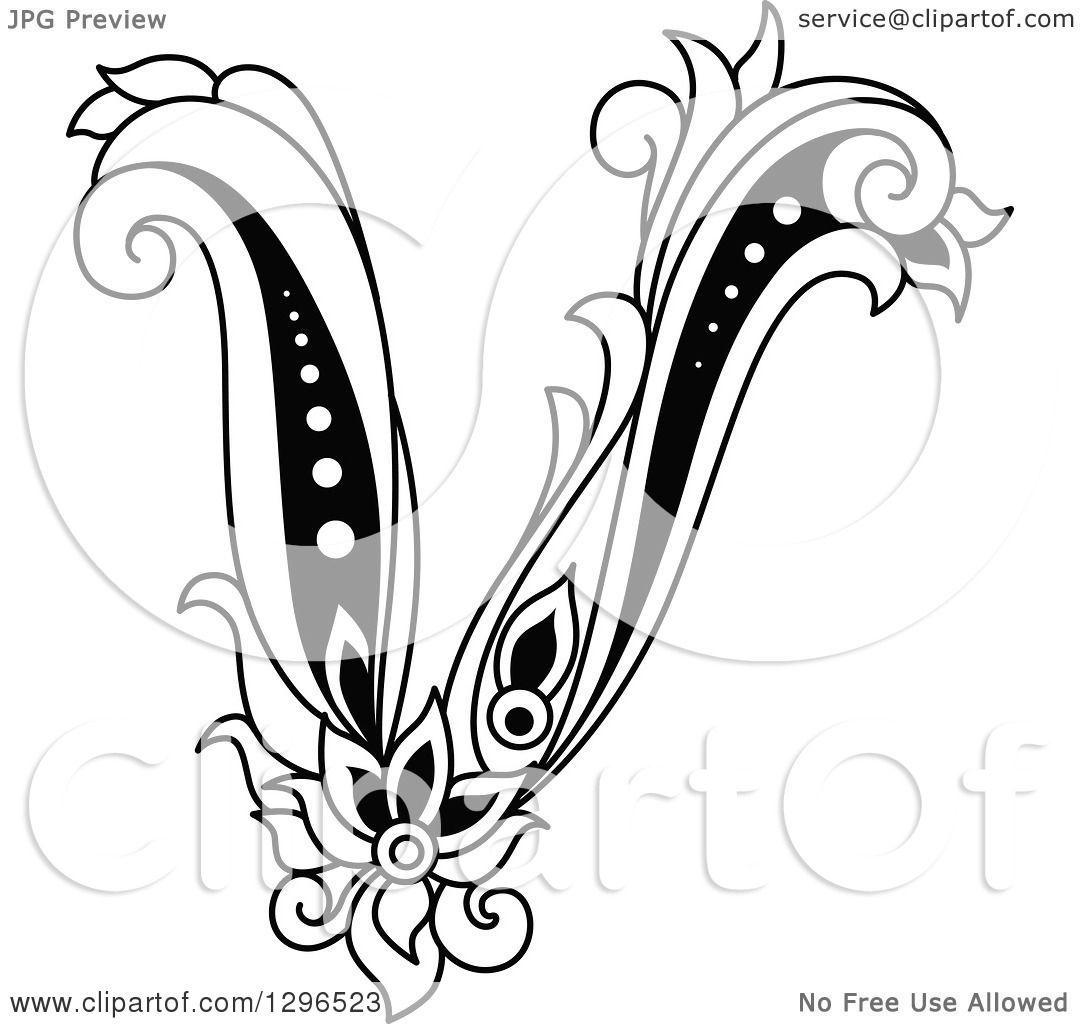 Clipart of a Black and White Vintage Lowercase Floral Letter V.