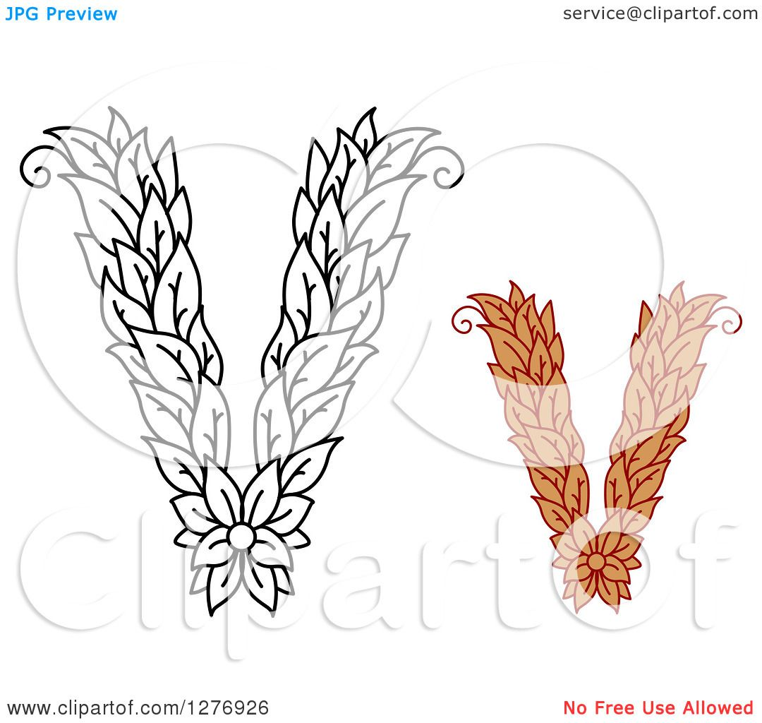 Clipart of Black and White and Colored Floral Capital Letter V.