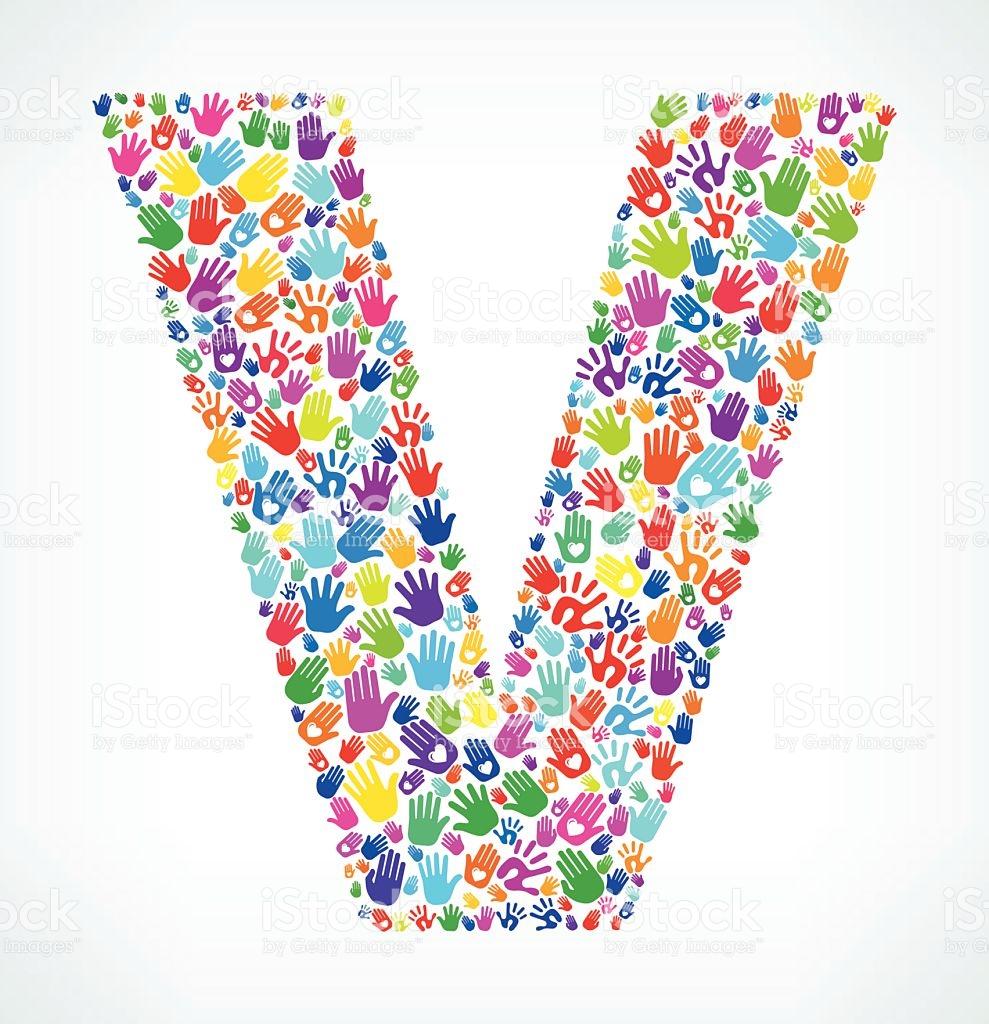 Letter V On Hands Pattern White Background stock vector art.