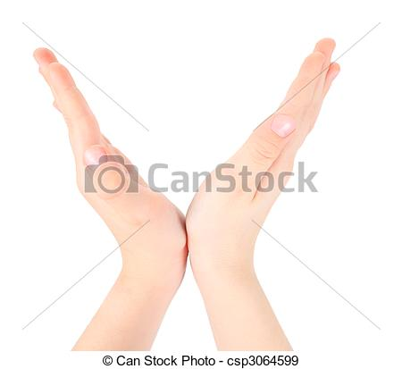 Stock Photographs of hands represents letter V from alphabet.