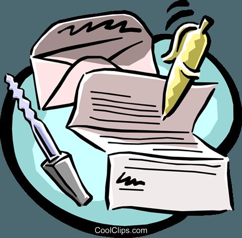 letter writing equipment Royalty Free Vector Clip Art illustration.