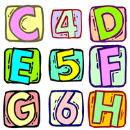 Alphabet and Numbers Clip Art.
