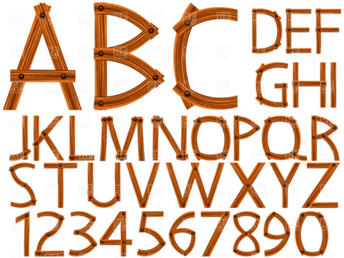 Wooden alphabet and numbers Vector Image of Signs, Symbols, Maps.