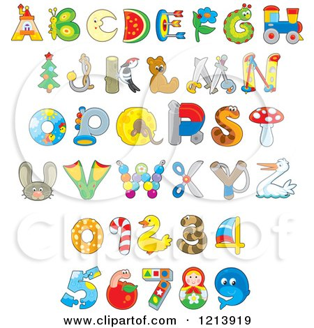 Cartoon of Animal and Object Alphabet Letters and Numbers.