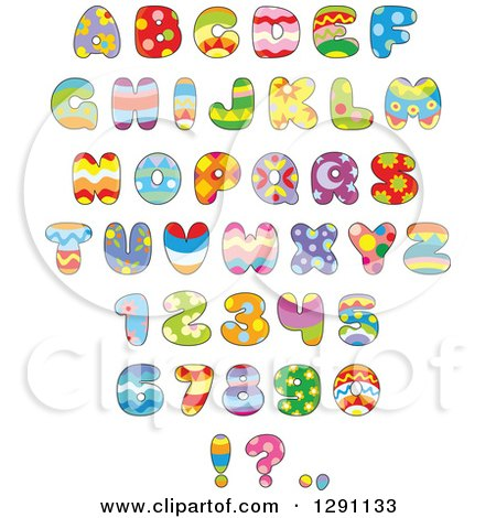Clipart of Colorful Funky Patterned Easter Themed Alphabet Letters.