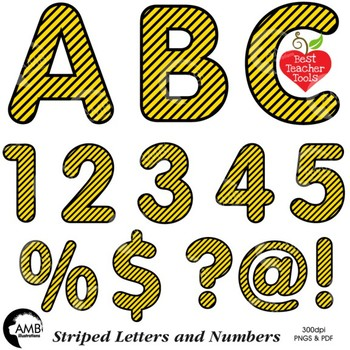 Alphabet Clipart, Striped Letters, Numbers, Symbols, Yellow and Black.