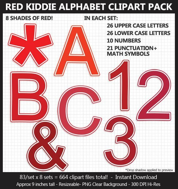 Red Kiddie Alphabet Clipart Pack Letters Numbers.