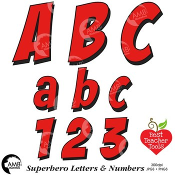Superhero Clipart Letters and Numbers, Lower Case Alphabet Red.
