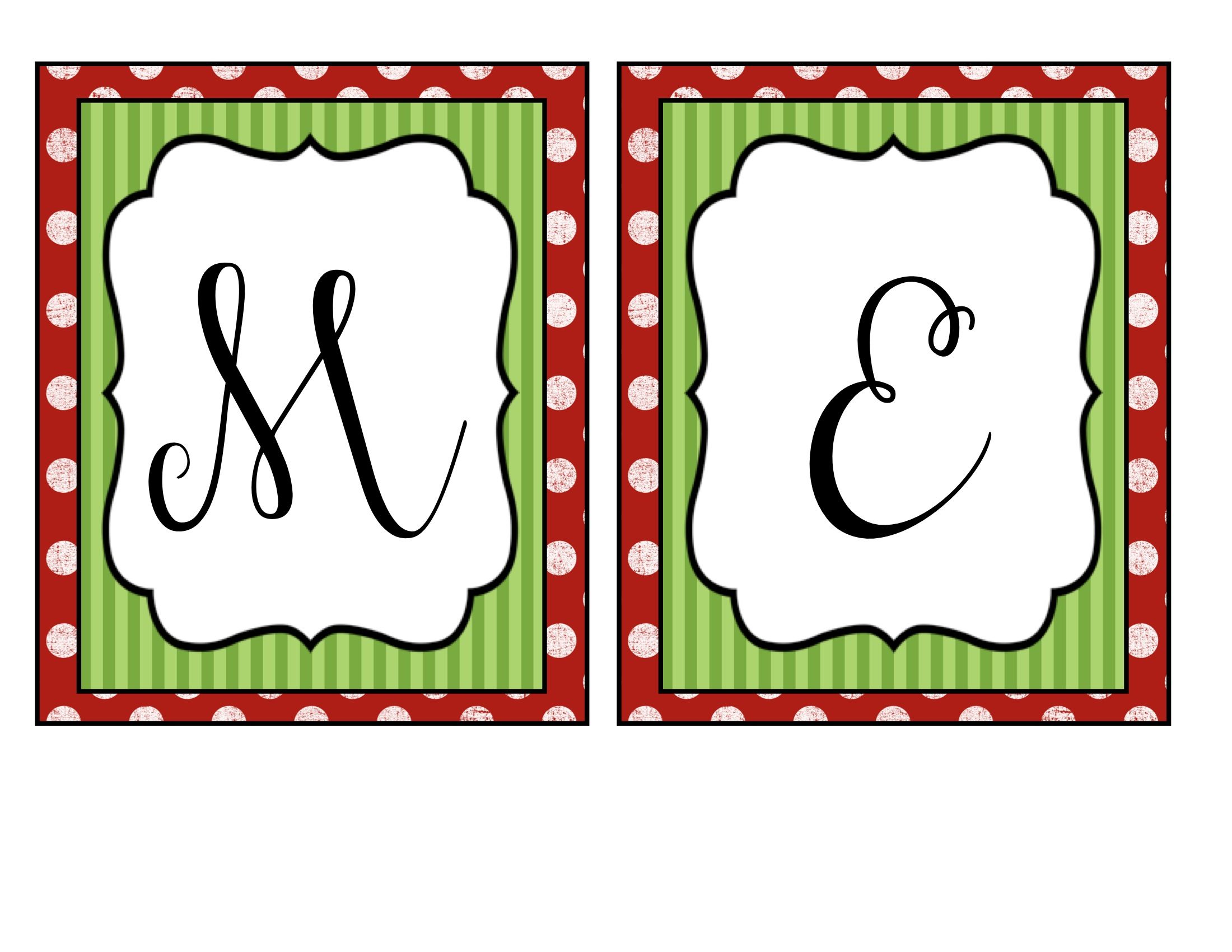 Clipart Printable Christmas Alphabet Letter Merry Christmas.