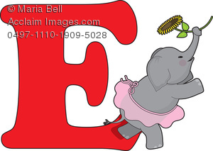 Letters of the Alphabet: the Letter E Is for Elephant Clipart.