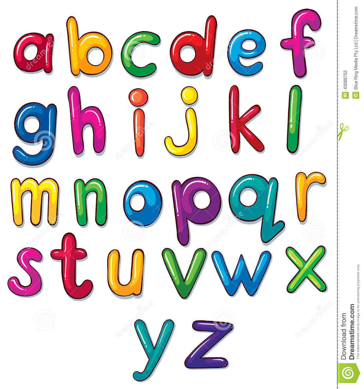 Letters Of The Alphabet Artwork Stock Vector.