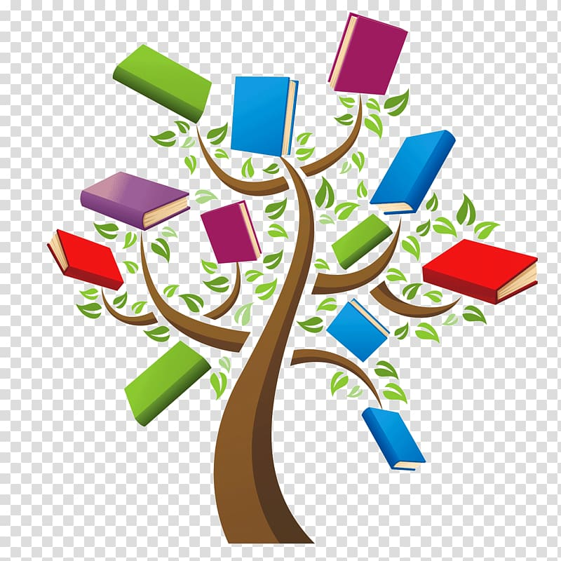 Multicolored book family tree , Book Library Reading Tree.