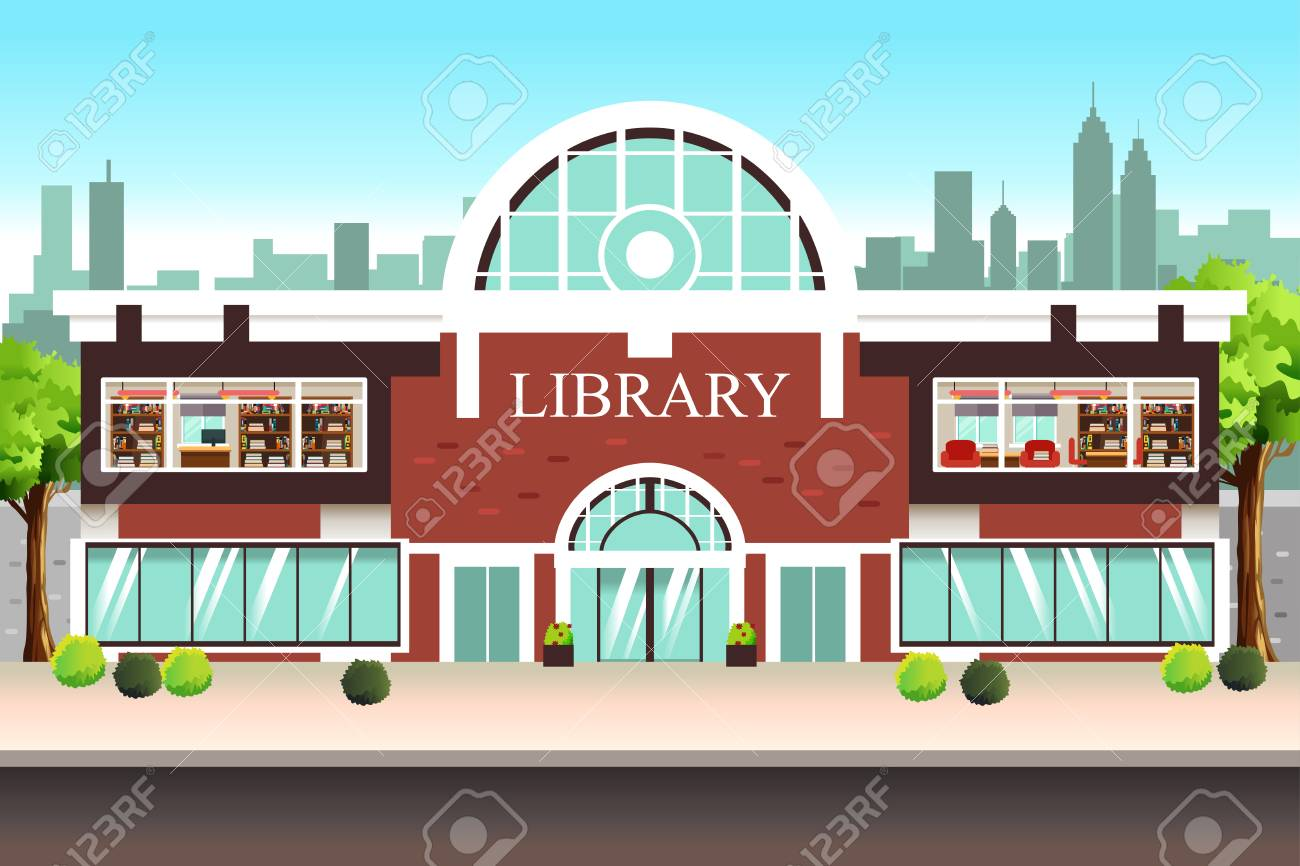 A vector illustration of Public Library Building.