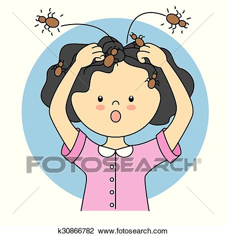 Child with lice Clipart.