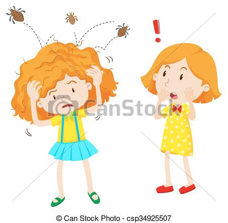 Girl with head lice jumping in her head.