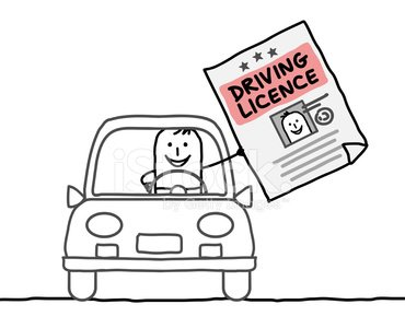 man in car with driving licence Clipart Image.