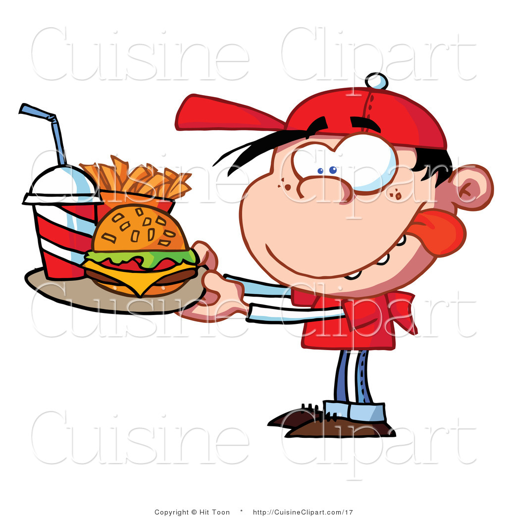 Cuisine Vector Clipart of a Fast Food Boy Licking His Lips.