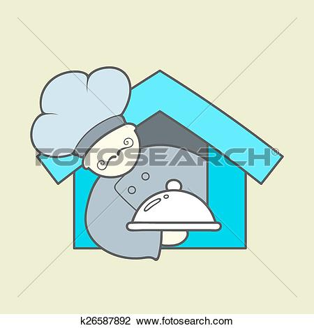 Clipart of Flat vector icon of cute chef, mustaches and tray with.