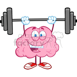 5819 Royalty Free Clip Art Happy Brain Character Lifting Weights clipart.  Royalty.