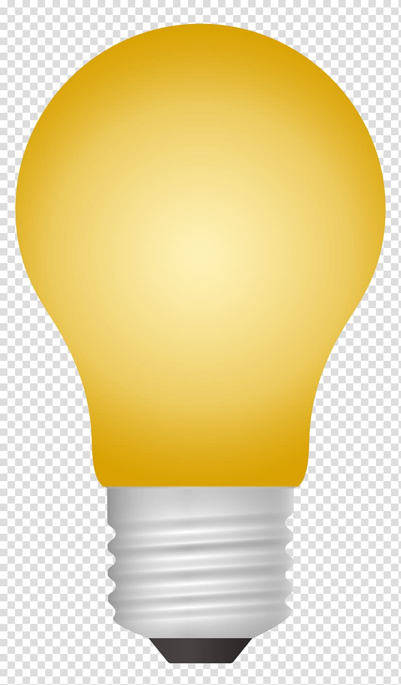 Yellow lightbulb illustration, Incandescent light bulb, Light Bulb.