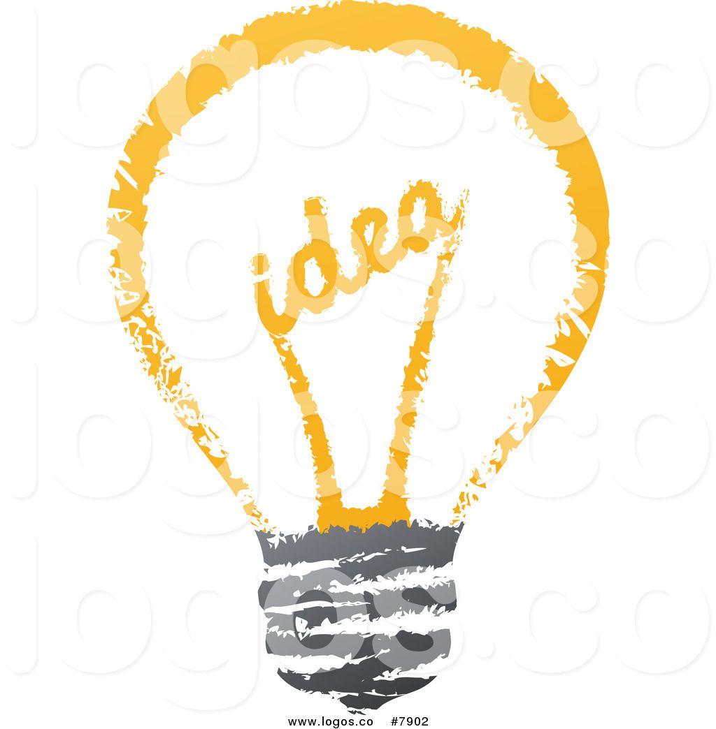 Royalty Free Clip Art Vector Sketched Idea Filament Light Bulb Logo.