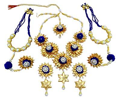 Buy Blent#63 Blue Gota Patti Flower Jewellery Set for Women.