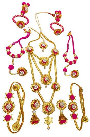 Buy Blent#63 Pink Gota Patti Flower Jewellery Set for Women.