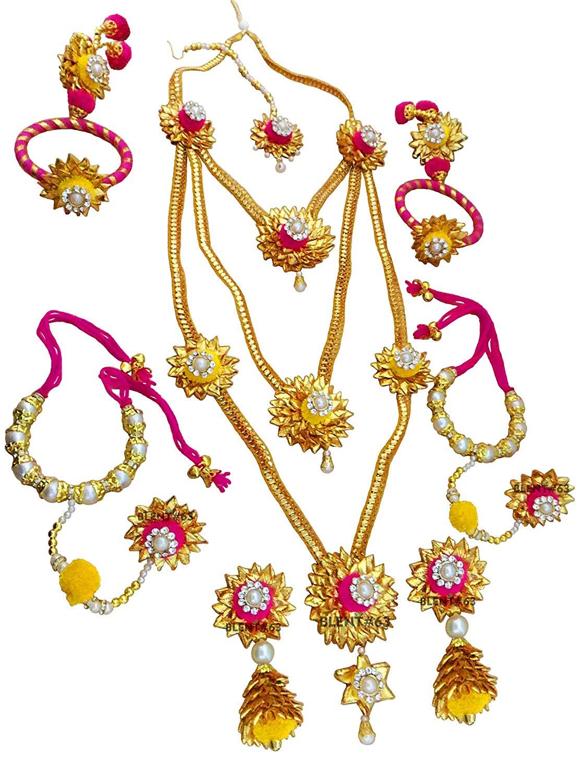 Buy Blent#63 Pink Yellow Gota Patti Flower Jewellery Set for.