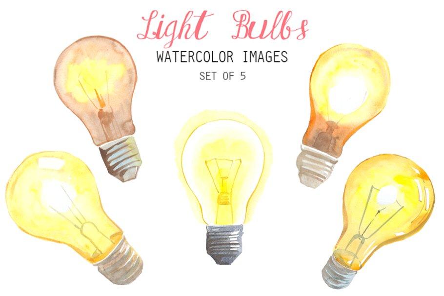 Watercolor Light Bulbs Clipart.