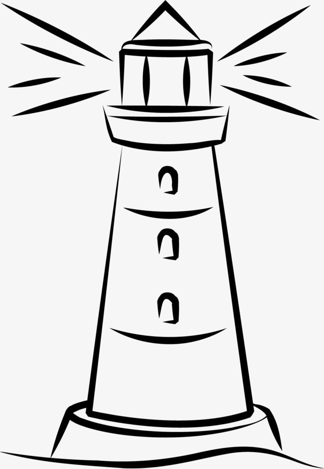 Hand Painted Lighthouse, Black, Silhouette, Colour PNG Transparent.
