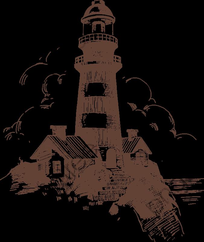 Sketch Island Lighthouse Decorative Patterns, Island Clipart.