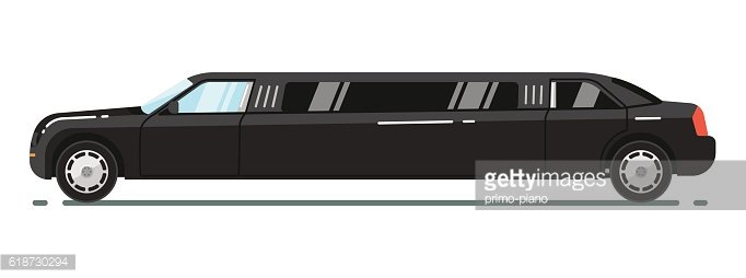 Luxurious limousine isolated on white background Clipart.