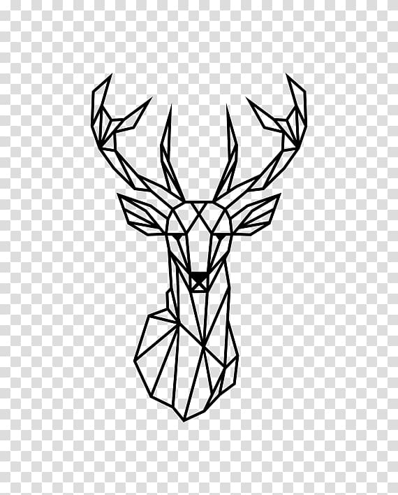Reindeer Wall decal Geometry Antler, lineas decorativas.
