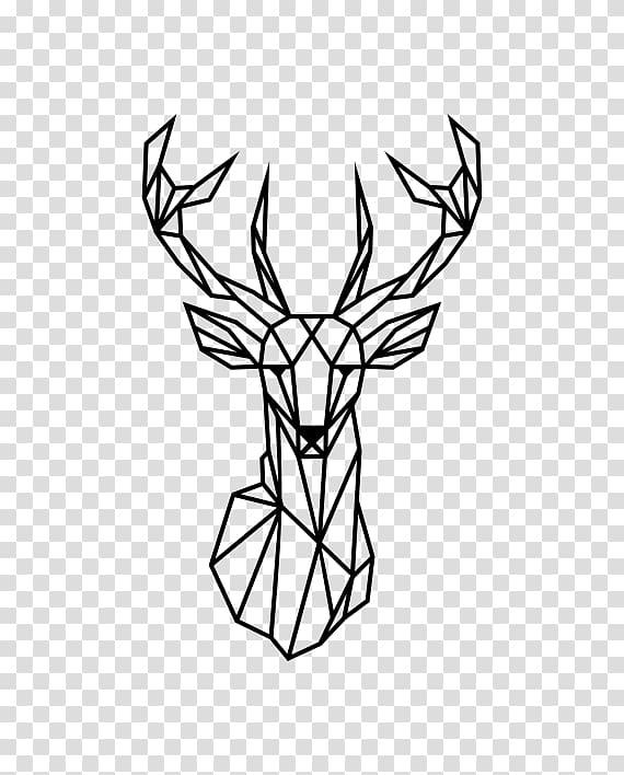Reindeer Wall decal Geometry Antler, lineas decorativas.