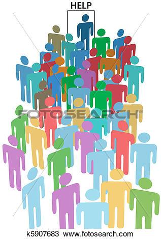 Clipart of People crowd line up HELP WANTED door k5907683.