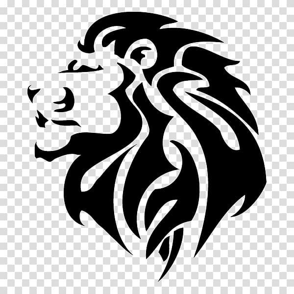 Black lion logo, Lionhead rabbit Tattoo Tiger , lion face.