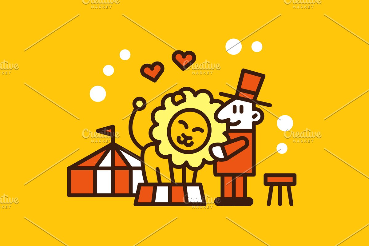 Circus Lion and Lions Tamer Clipart.