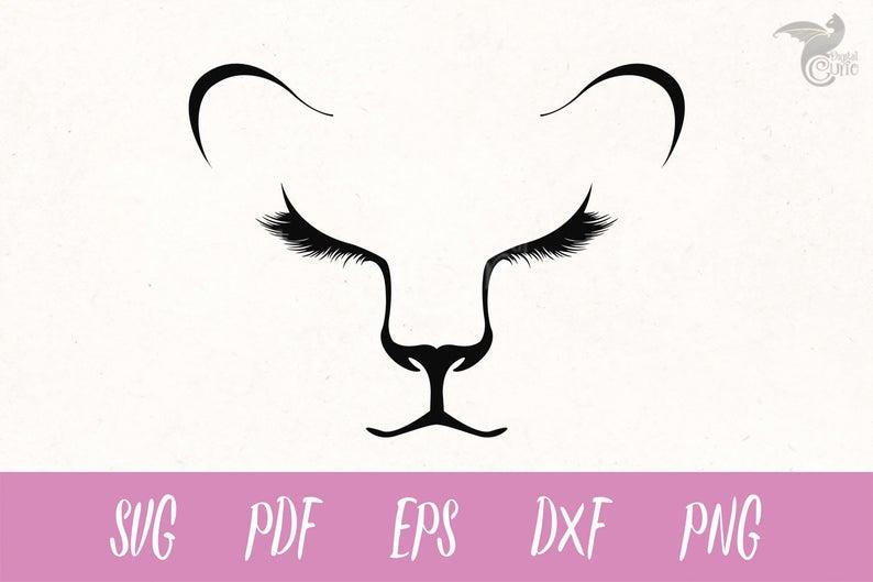 Lioness Face SVG, lion svg, Eyelashes svg, lion cub clipart, Cricut, Cameo,  Cut file, Clipart, Svg, DXF, Png, Pdf, Eps, lion face clipart.