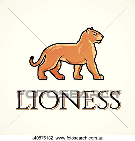 Lioness logo vector. Lion design template. Shop or boutique illustration.  Big cat insignia, Cougar logotype on light background. Clipart.