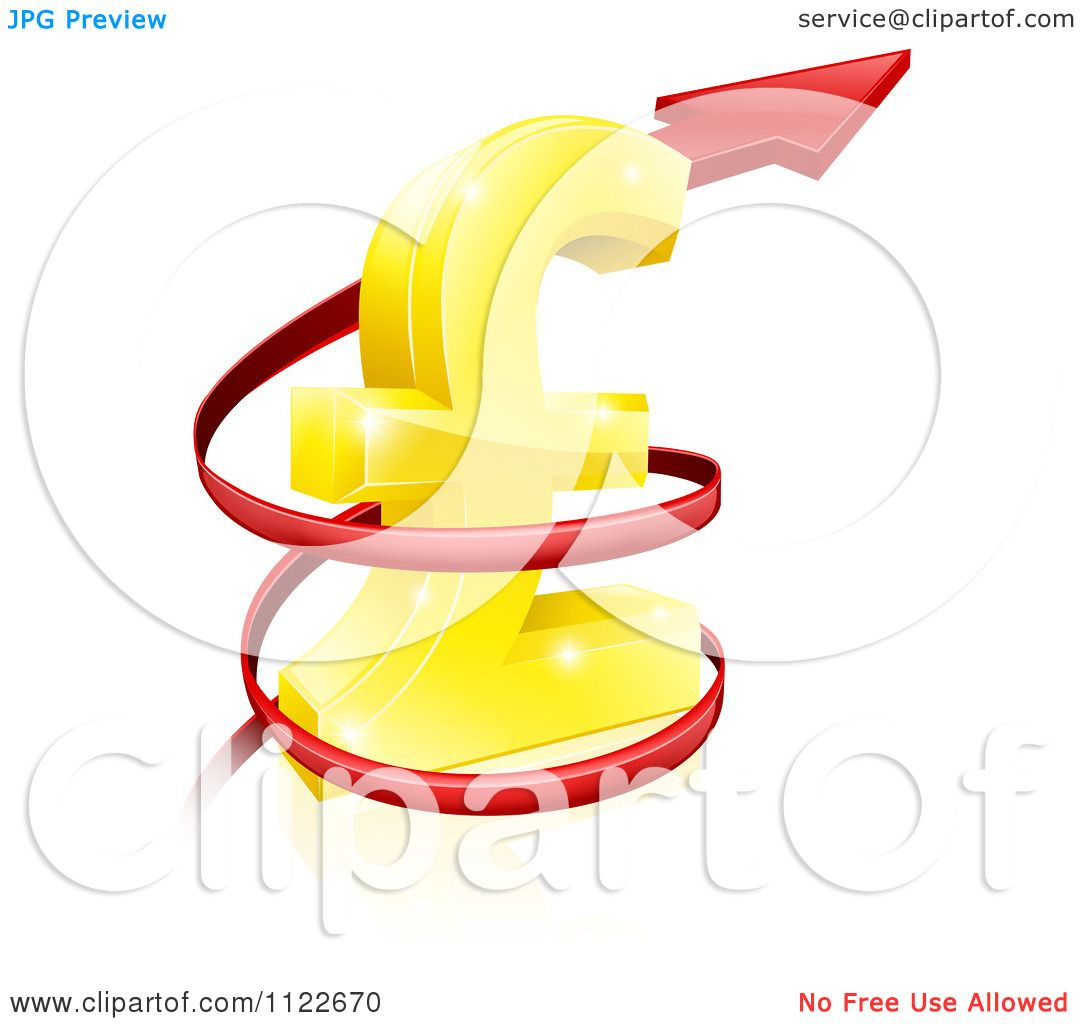 Clipart Of A 3d Red Spiraling Up Arrow Around A Golden Lira Pound.