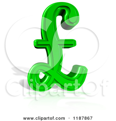 Clipart of a 3d Green Lira Pound Symbol and Shadow on White.